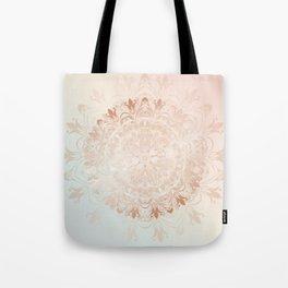 Rose Gold Blush Mint Floral Mandala Tote Bag