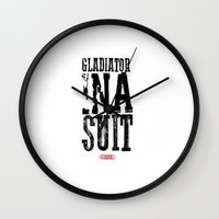 gladiator Wall Clocks featuring Gladiator in a suit  by Luxe Glam Decor