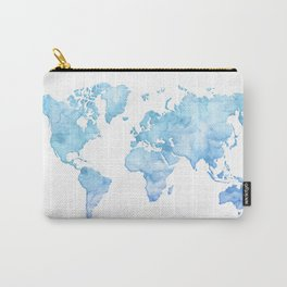 Light blue watercolor world map Carry-All Pouch