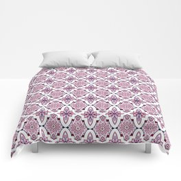 Lilac and burgundy flower Moroccan Tiles Comforters