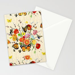 Butterfly Bouquet on Raw Silk Stationery Cards