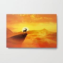 lonely sunset deer Metal Print