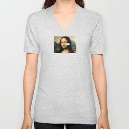 Smirking Mona Lisa Unisex V-Neck