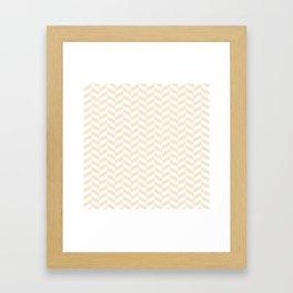 Champagne Brown Herringbone Pattern Framed Art Print