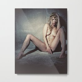 Naked Sexy woman in a dark dungeon. Image finished with old film grain. Metal Print