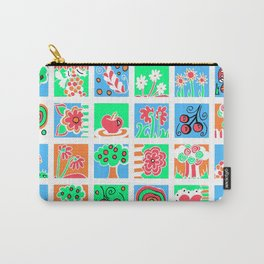Apples Flowers and Mushrooms Mini Doodle Art - White Carry-All Pouch