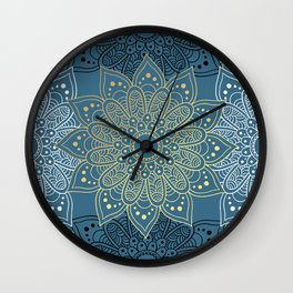 GOLDEN MANDALA ON BLUE Wall Clock
