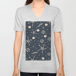Seamless Winter Snowy Background filed with snowflakes. Winter, Merry Christmas Unisex V-Neck