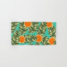 Oranges On Teal Exotic Hand & Bath Towel