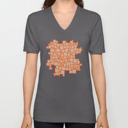 abstract cells pattern in orange and beige Unisex V-Neck