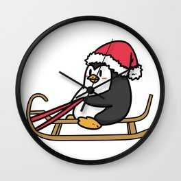 sled penguin Wall Clock