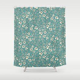 garland flowers blue Shower Curtain