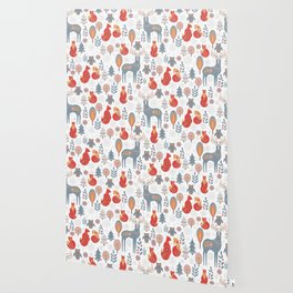 Seamless pattern with winter forest, deer, owl and Fox. The Scandinavian style. Wallpaper