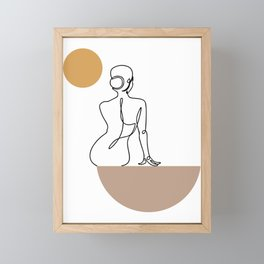 Female Nudity Printable Line Art, Sexy Woman Figure Nude Drawing, Abstract Naked Woman Print Framed Mini Art Print