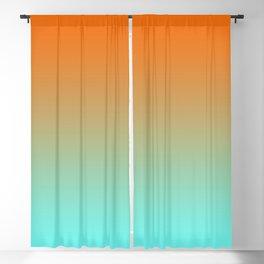 Modern Bright Orange and Light Aqua Ombre Blackout Curtain