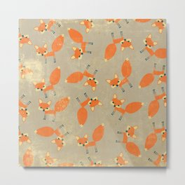 Retro Fox Pattern Metal Print