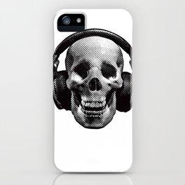 Hipster Skull Listening to Music on Headphones iPhone Case