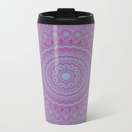 Geometric flower mandala Metal Travel Mug