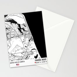 Virginia Beach, USA Road Map Art - Earth Tones Stationery Cards