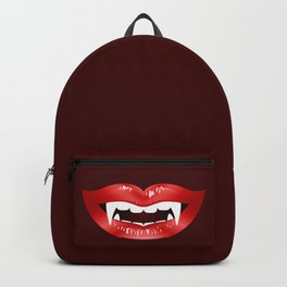 Vampire Mouth Illustration With Red Lips And Fangs Backpack