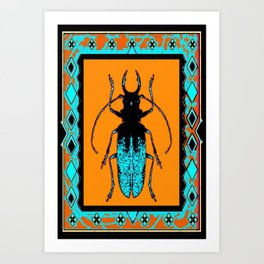Black Turquoise Stag horn Beetle Western Art Abstract Art Print