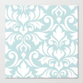 Flourish Damask Art I White on Duck Egg Blue Canvas Print
