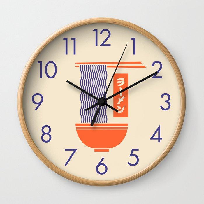 Ramen Japanese Food Noodle Bowl Chopsticks - Cream Wall Clock