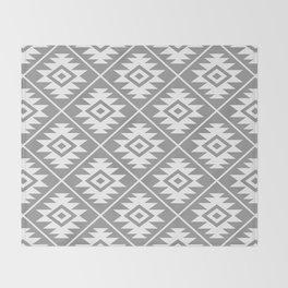 Aztec Symbol Pattern White on Gray Throw Blanket