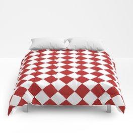 Diamonds - White and Firebrick Red Comforters