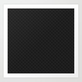 Sleek Black Stitched and Quilted Pattern Art Print