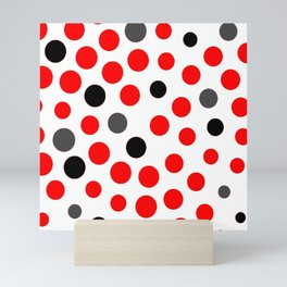red grey black dots on white background pattern Mini Art Print