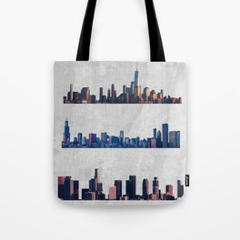 Chicago, New York City, And Los Angeles City Skylines Tote Bag