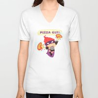 superheros V-neck T-shirts featuring Pizzagirl by Alapapaju