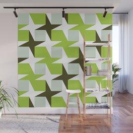 Geometric Pattern #96 (green squares white stars) Wall Mural