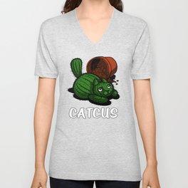 Catcus Cactus Cat Kitten Pun Unisex V-Neck