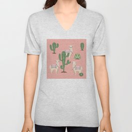 Alpaca with Cacti Unisex V-Neck