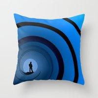 bond Throw Pillows featuring Bond Man by Steve Purnell