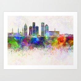 Detroit skyline in watercolor background Art Print