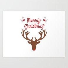 oh deer, merry christmas Art Print