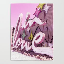 "Pink ""In Love"" Sign at the Neon Museum in Las Vegas, Nevada Poster"