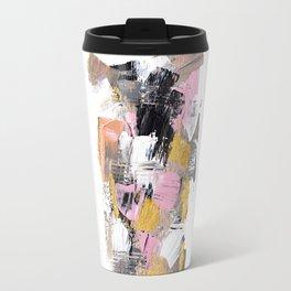 Modern abstract acrylic paint pink black gold salmon brushstrokes part 2 Travel Mug