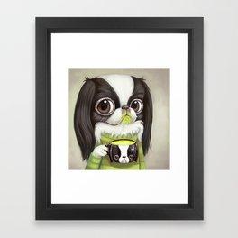 Japanese Chin Sips Matcha Latte Framed Art Print