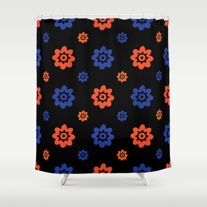 Florida Gator Colors Flower Print On Black Shower Curtain By Christiebcurator