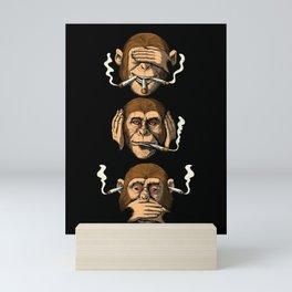 Three Wise Monkeys Smoking Weed Mini Art Print