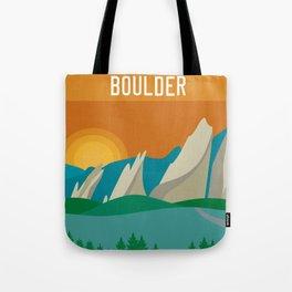 Boulder, Colorado - Skyline Illustration by Loose Petals Tote Bag