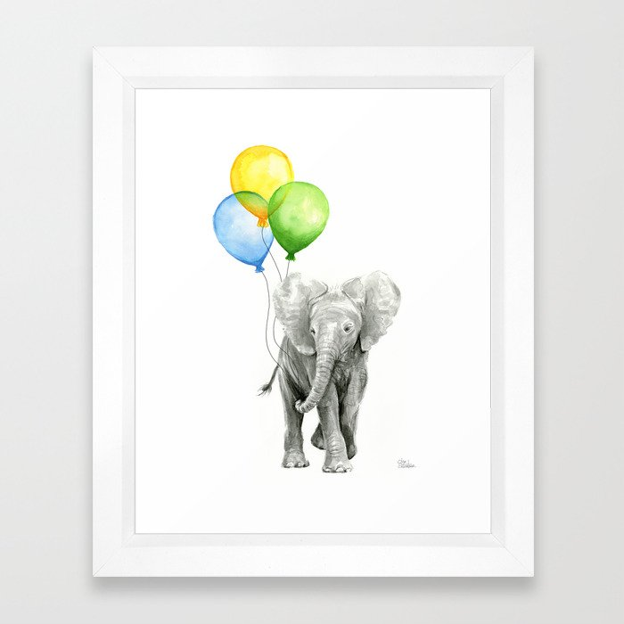 Elephant Watercolor Baby Animal with Balloons - Blue Yellow Green ...