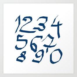 Chiffres bleus Art Print