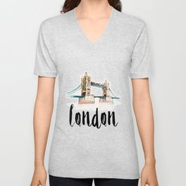London watercolor Unisex V-Neck