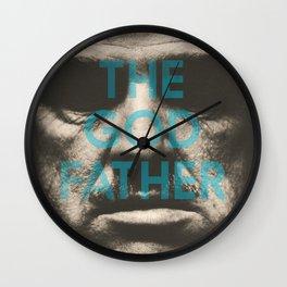 The Godfather, minimalist movie poster, Marlon Brando, Al Pacino, Francis Ford Coppola classic film Wall Clock