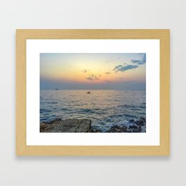 Seacoast of the peninsula of Rovinji at sunset Framed Art Print